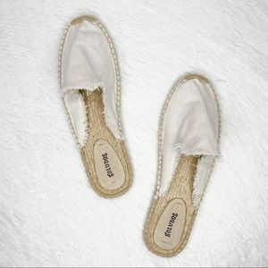 SOLUDOS / white frayed mule loafers / 11